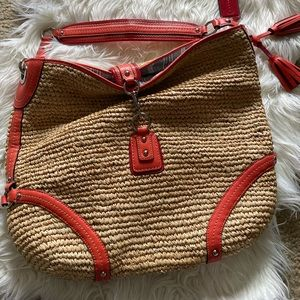Coral and Tan Coach Purse Large